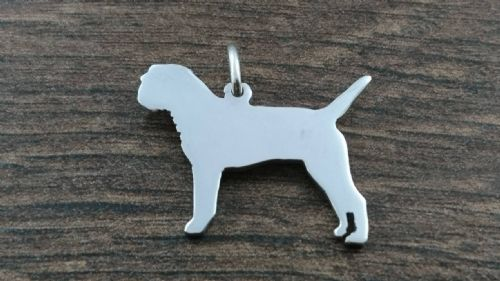 Border Terrier Charm silhouette solid sterling silver Handmade in the Uk